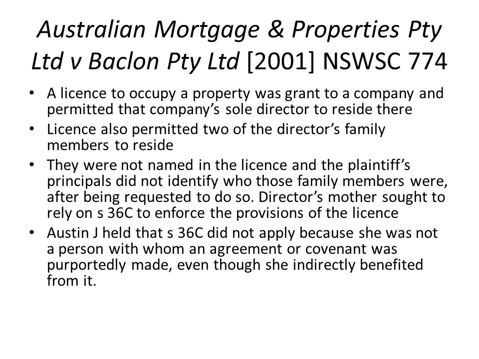 Australian Mortgage & Properties Pty Ltd v Baclon Pty Ltd [2001] NSWSC 774